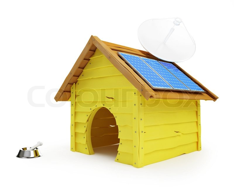 Stock image of 'Dog house with solar panels and antenna'