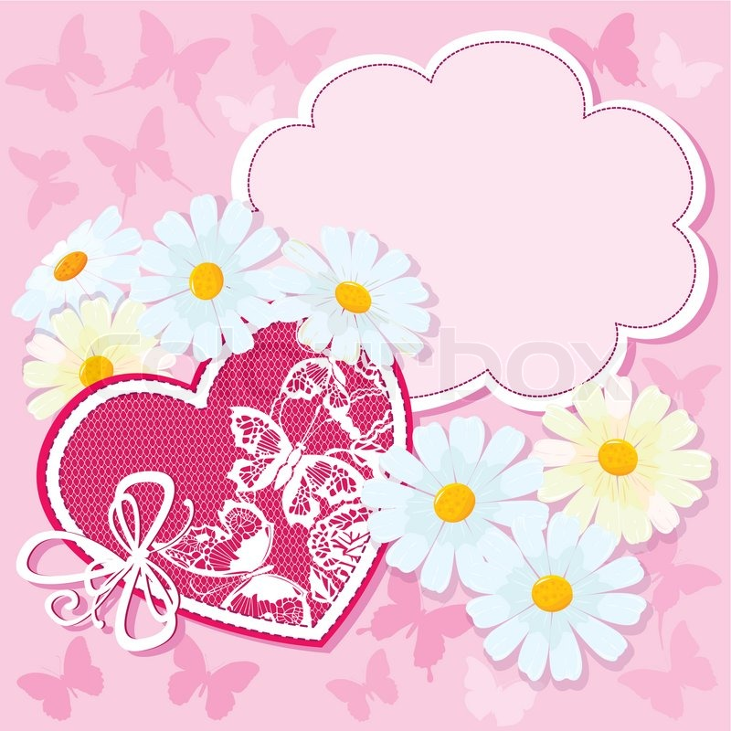 Heart And Daisies On A Pink Background With Butterflies
