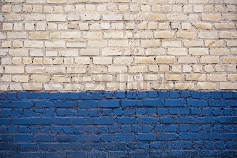 White And Blue Brick Wall Stock Photo Colourbox