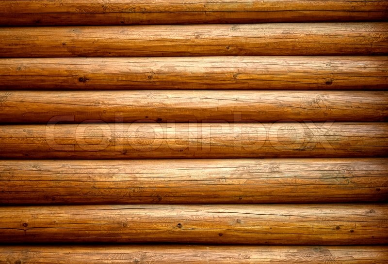 Wooden wall from logs stock photo colourbox