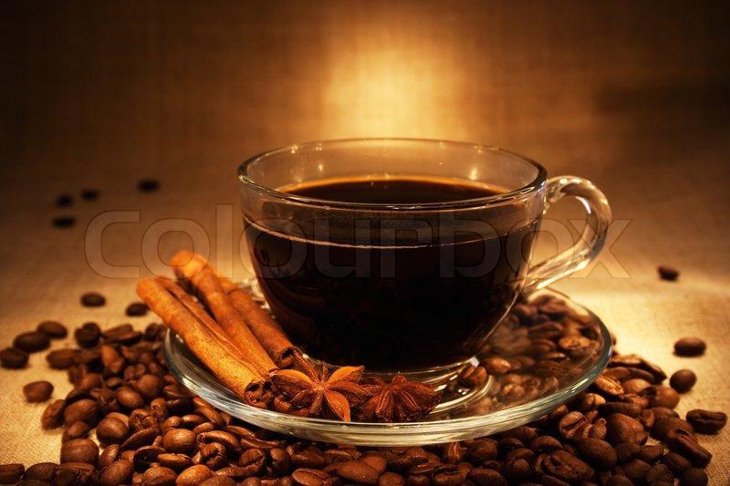 Dark Coffee With Cinnamon Still Life In Dark Soft Ambient