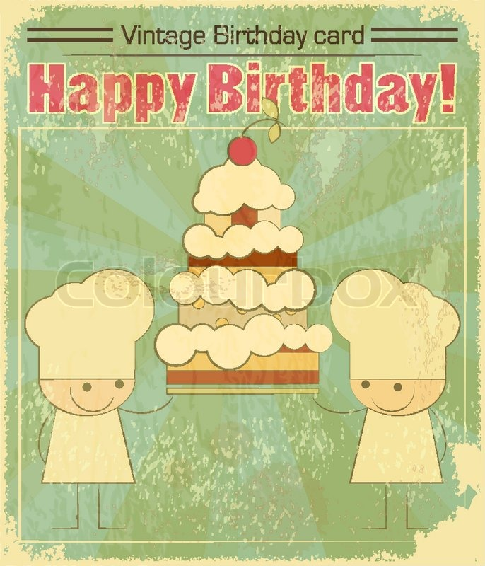Vintage Birthday Card Design With Chefs And Big Cake Stock Vector