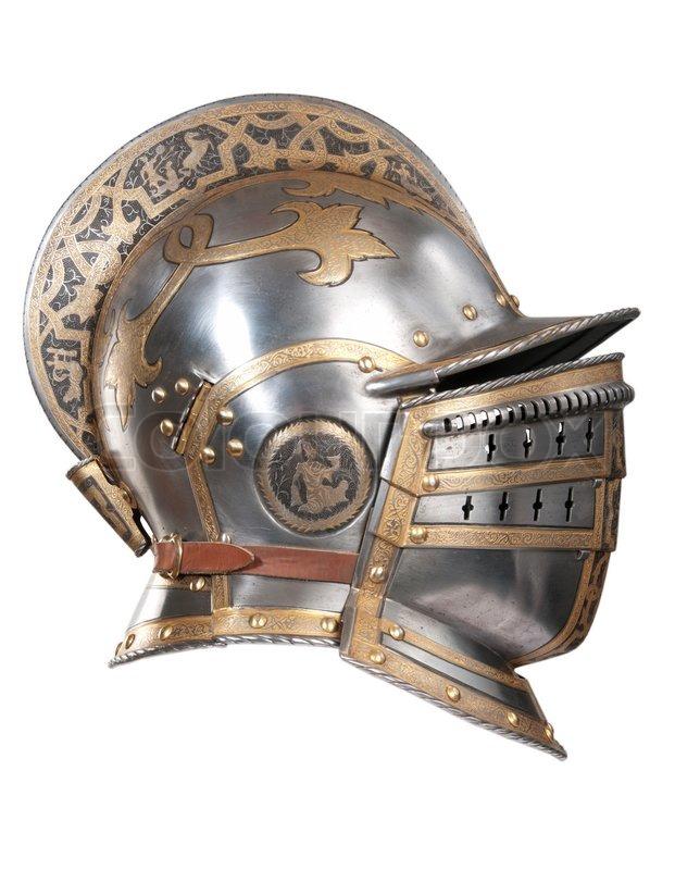 Iron helmet of the medieval knight Very heavy headdress ...