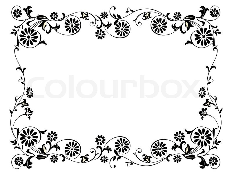 Design Frame With With Black Swirling Stock Photo Colourbox