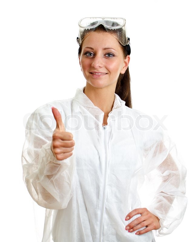 Female scientist in lab coat with thumb up gesture Isolated on ...