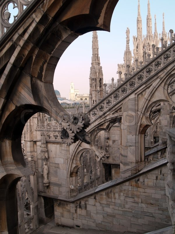 Carved Stone Arches On Roof Of Gothic Cathedral In Milan