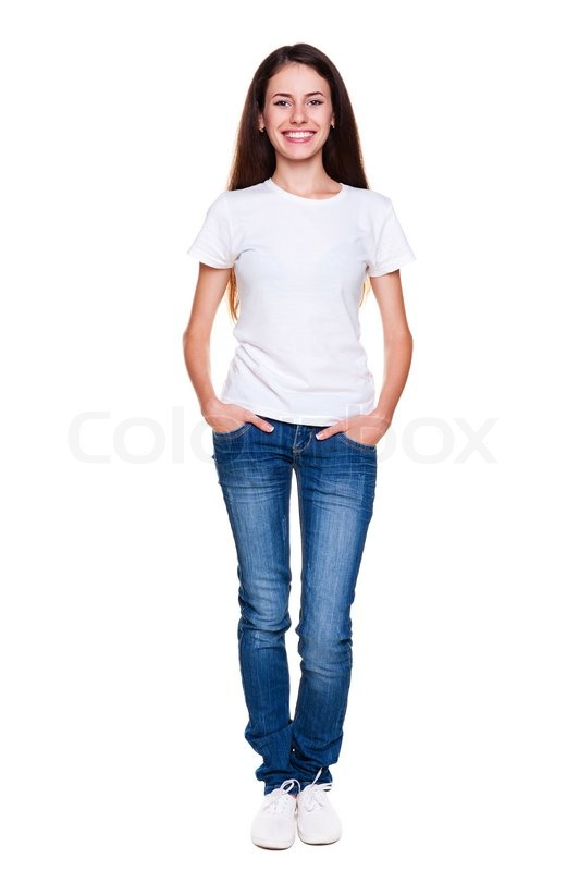 happy teenager in white tshirt and jeans stock photo