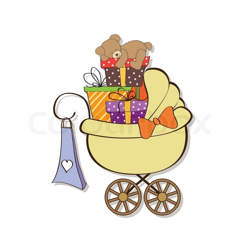 Baby Gift Vector : Baby shower card with gift boxes in the pram stock