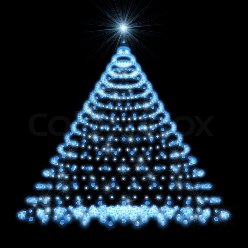 abstract christmas tree made of blue lights on black background stock photo colourbox - Christmas Tree With Blue Lights