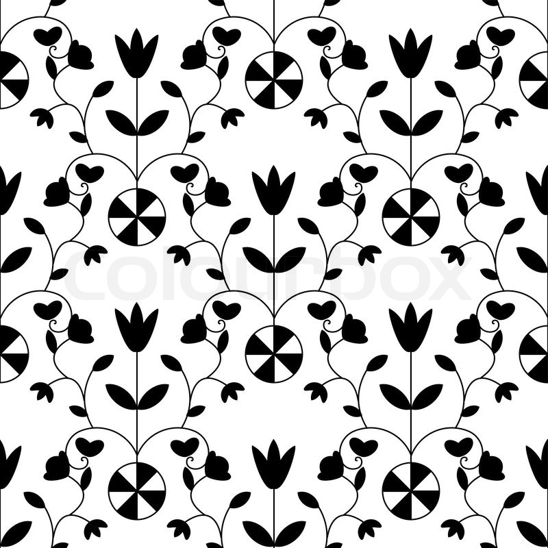Black And White Seamless Damask Floral Stock Vector Colourbox