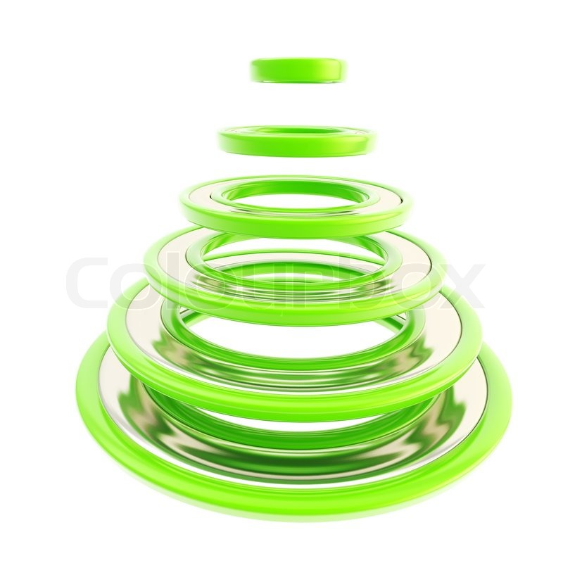Christmas tree made of green futuristic rings   Stock Photo ...