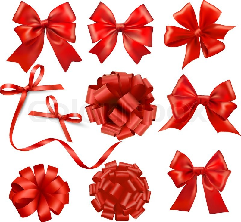 big set of red gift bows with ribbons stock vector colourbox. Black Bedroom Furniture Sets. Home Design Ideas