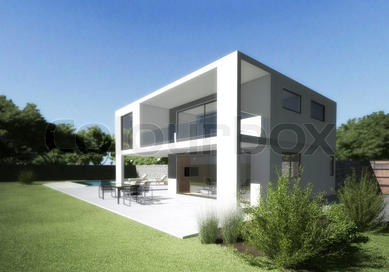 Modern house villa with terrace and garden Stock Photo