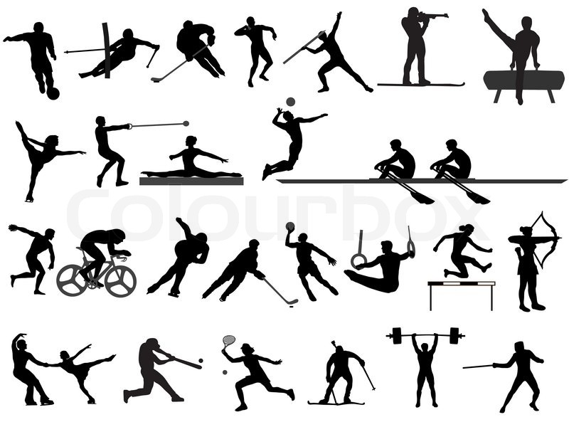 Dynamic Sports Figures Silhouette: Stock-Vektor