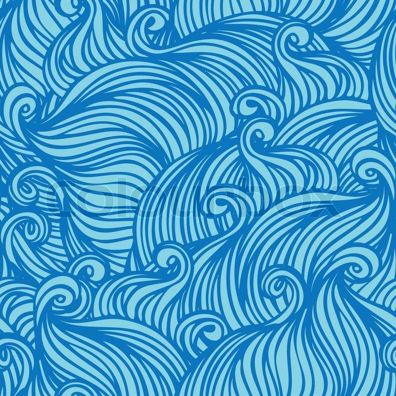 vektor nahtlose blaue abstrakte handgezeichnete muster mit wellen und wolken vektorgrafik. Black Bedroom Furniture Sets. Home Design Ideas