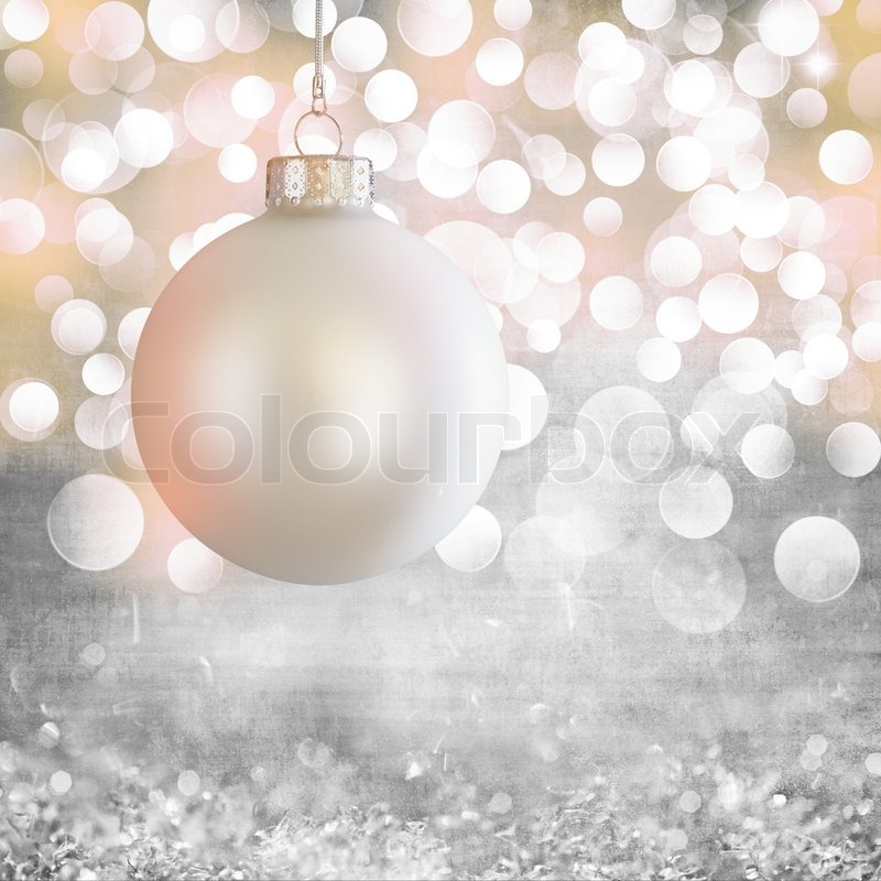 Vintage White Christmas Ball Ornament Over Elegant Grunge Grey Purple Pink Gold Light Bokeh Crystal Background