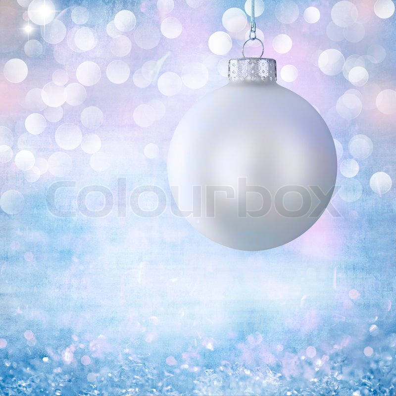 vintage white christmas ball ornament over elegant grunge robins egg blue purple pink christmas light bokeh crystal background stock photo colourbox