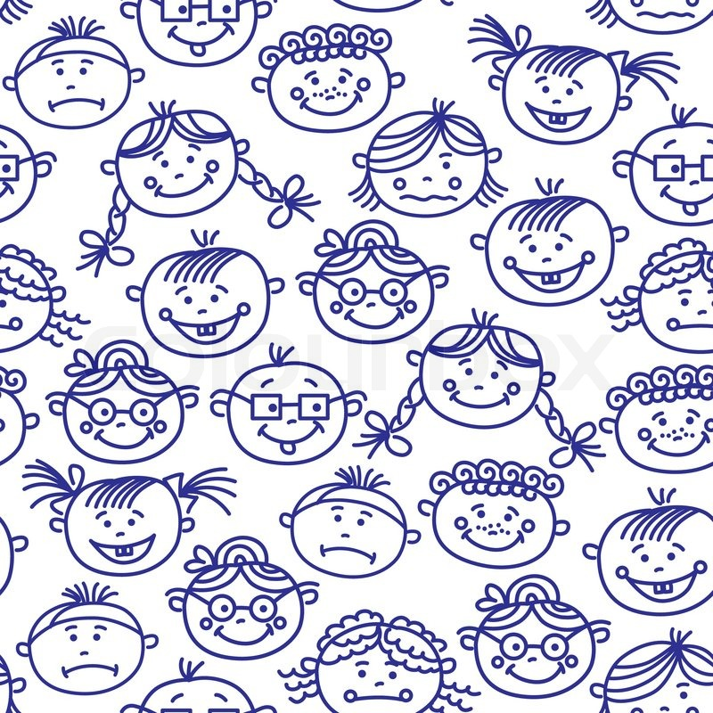 seamless pattern of baby cartoon faces stock vector colourbox