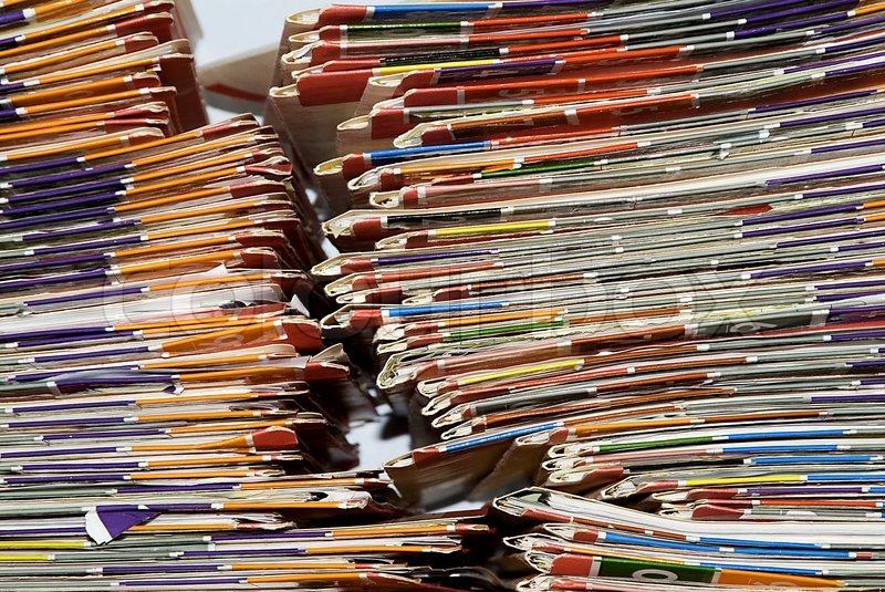 Medical Records shelf, stock photo