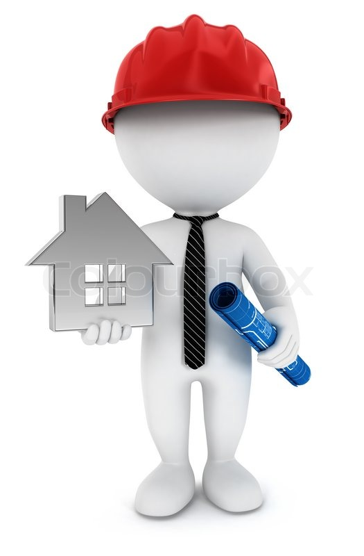3d White People Foreman With Blueprint House And Helmet Isolated White Background 3d Image
