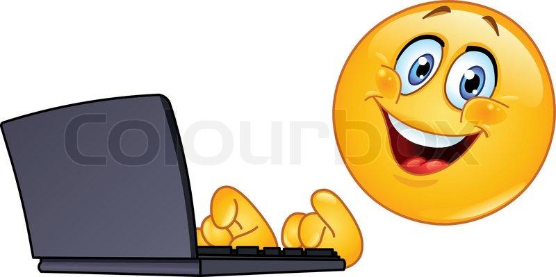 Emoticon With Computer Stock Vector Colourbox