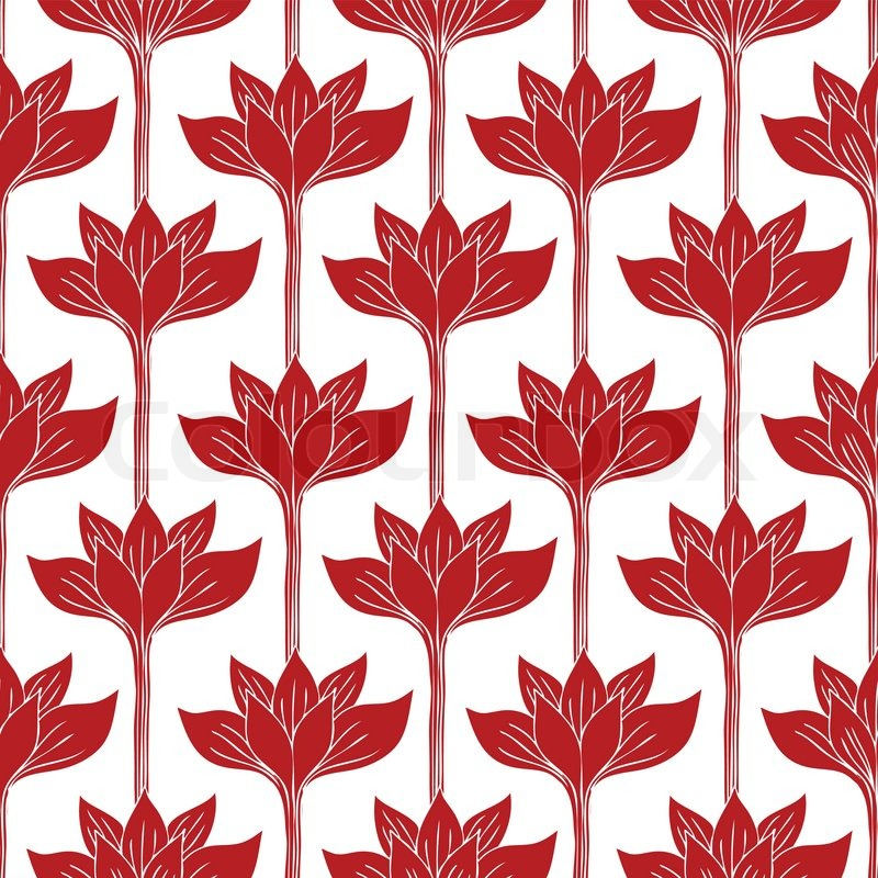Flower Picture Wallpaper on With Red Flowers  Fashion Seamless Pattern  Vintage Wallpaper