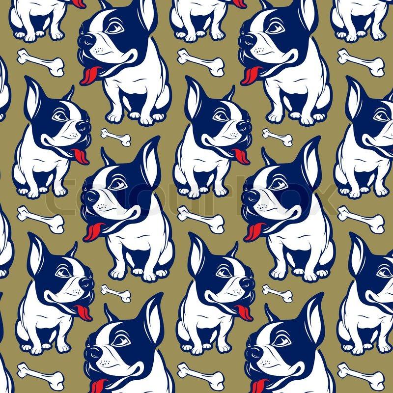 Background Cartoon Style French Bulldog Smile