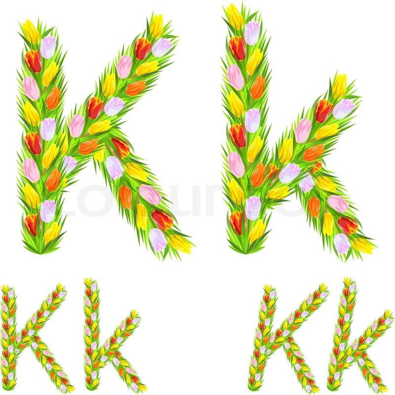 Vector Font Type Letter K Made From Flower Tulip Stock Vector
