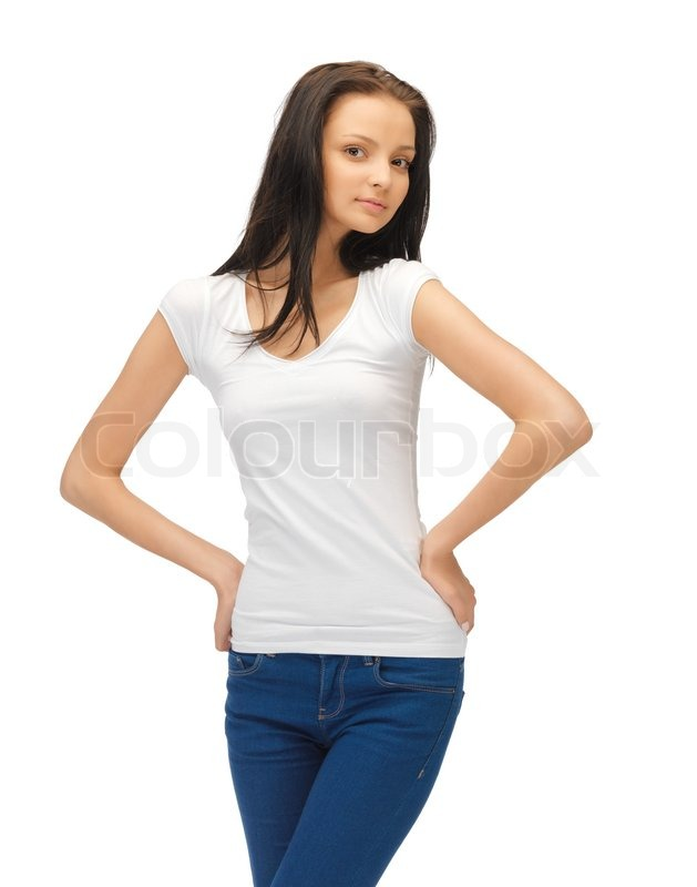 Teenage Caucasian Girl15 Years Old Sitting Outdoors: Teenage Girl In Blank White T-shirt