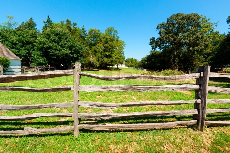 Ancient wooden fence on the farm stock photo colourbox
