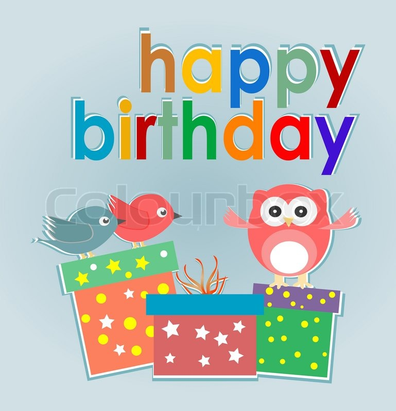 Cute owl birds and gift boxes happy birthday card – Birthday Card Gift