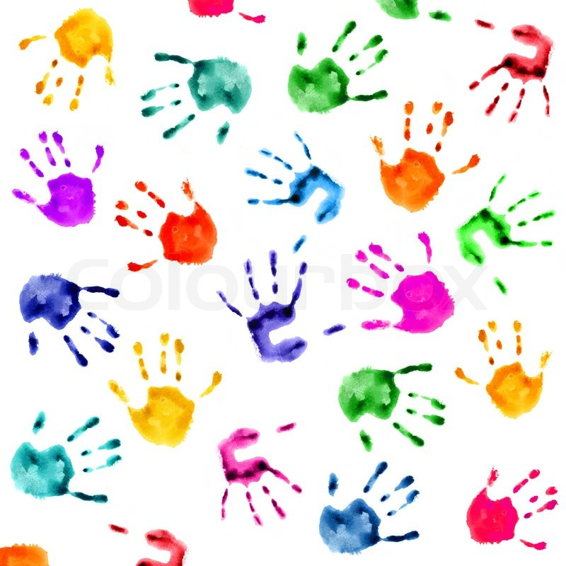 Hand Prints Background Stock Image Colourbox