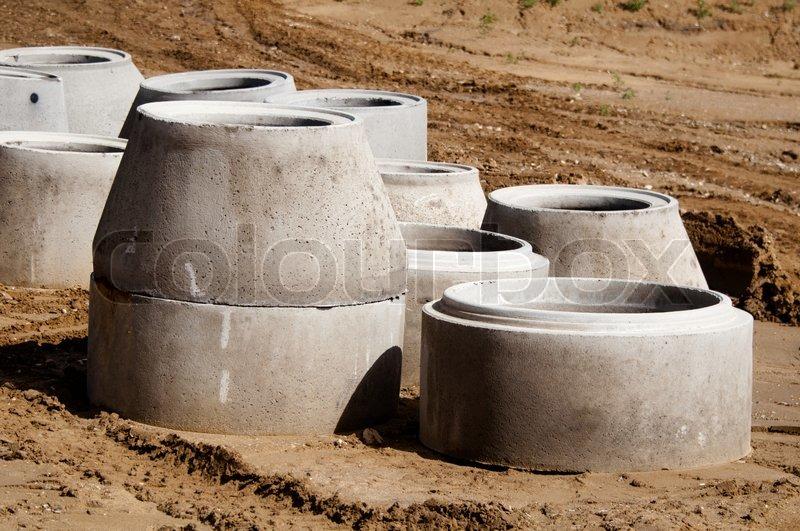 Concrete Drain Pipe : Concrete drainage pipes stock photo colourbox