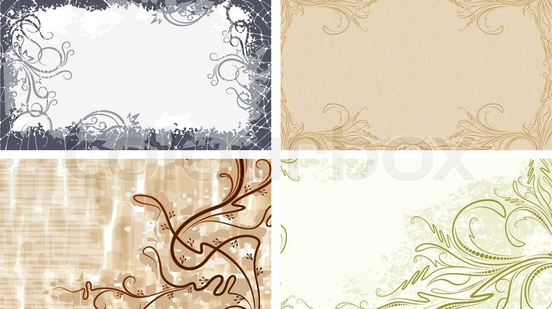 set of 4 backgrounds for visiting cards vector