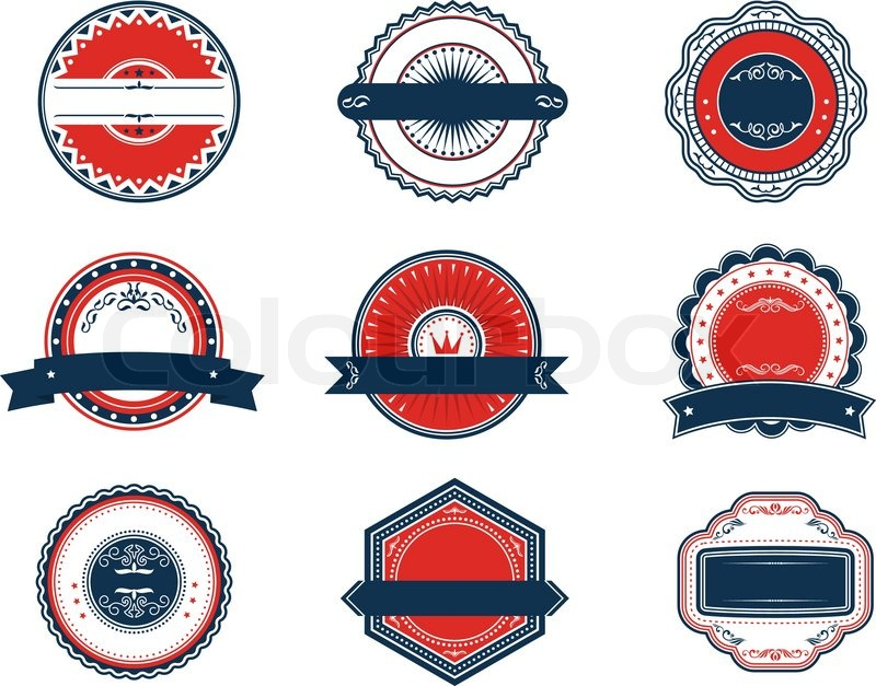 Retro blue and red labels set for sticker tag emblem or banner design stock vector colourbox