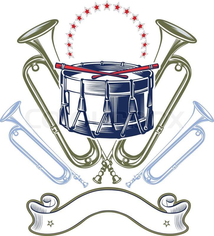 Cartoon Jazz Band Music Jazz Band Emblem in