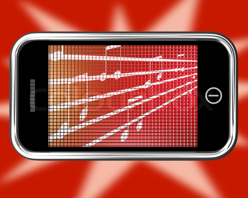Music Symbols On Mobile Phone Shows Online Radio Stock Photo