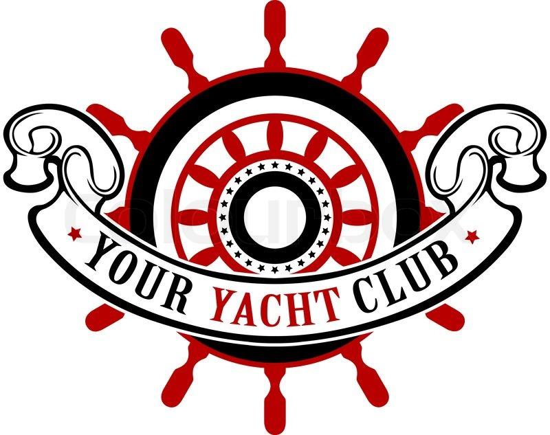Vector Vintage Ship Wheel Emblem With Ribbon Stock Vector Colourbox