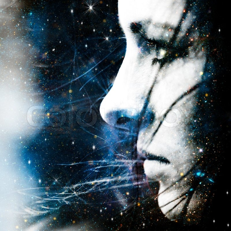 Star wind Abstract female portrait | Stock Photo | Colourbox