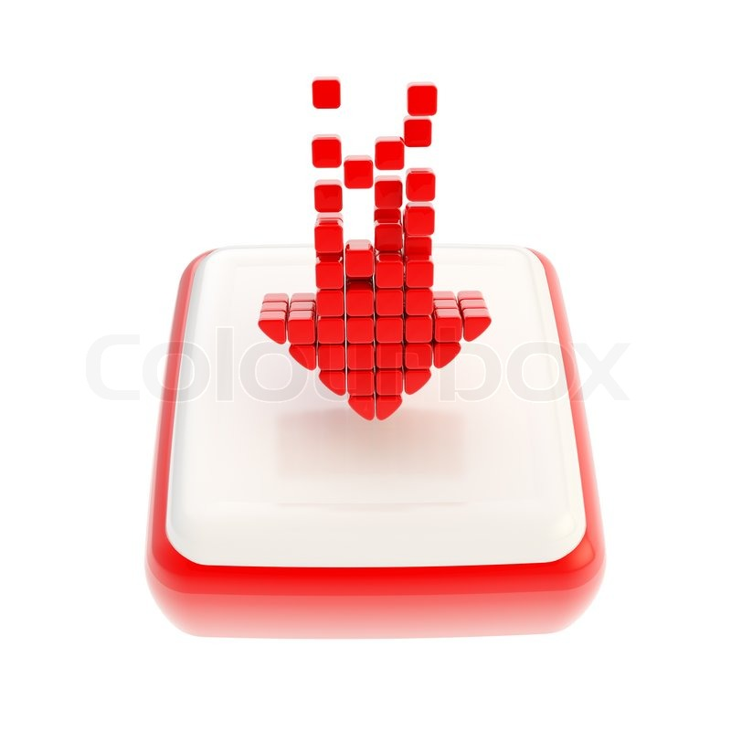Stock image of 'Down red arrow symbol icon over square button'