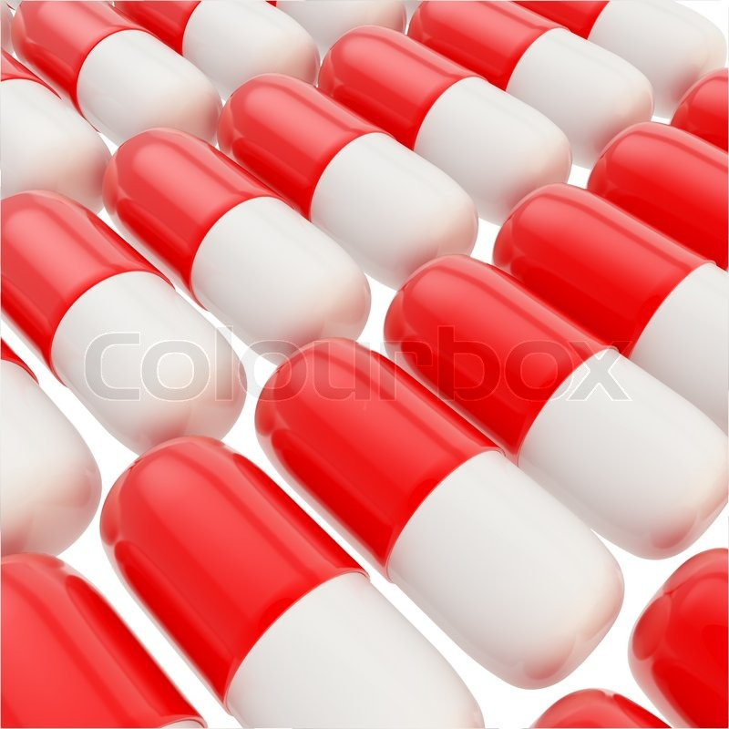 medicine pill glossy red and white capsules background stock photo