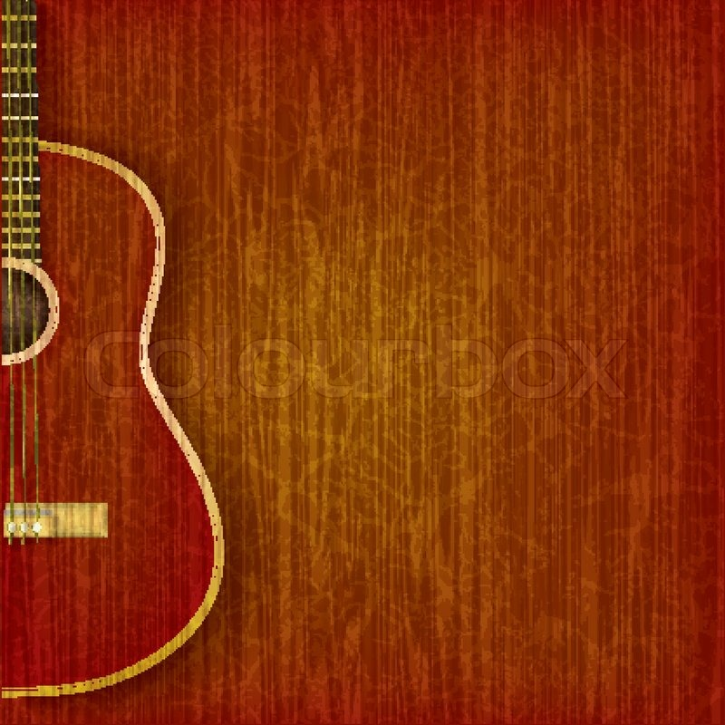 Acoustic guitar on abstract grunge wood background | Stock ...