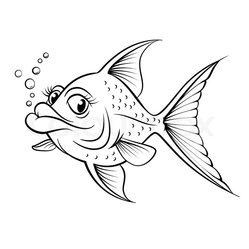 Stock vector of cartoon drawing fish