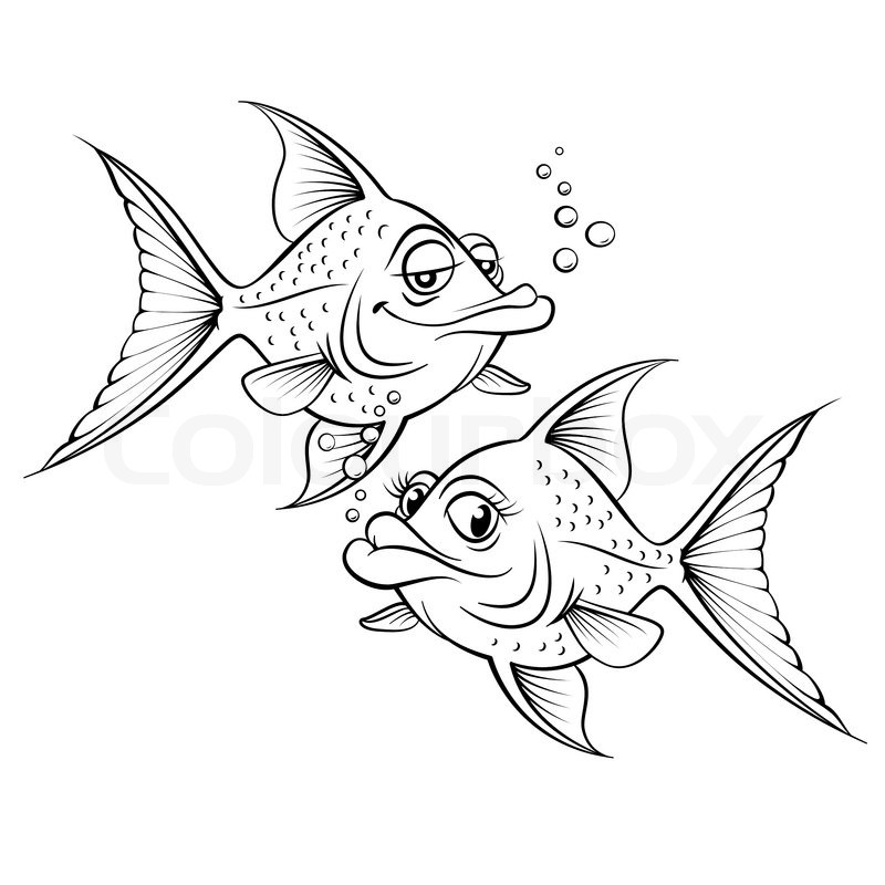 Stock vector of two drawing cartoon fish