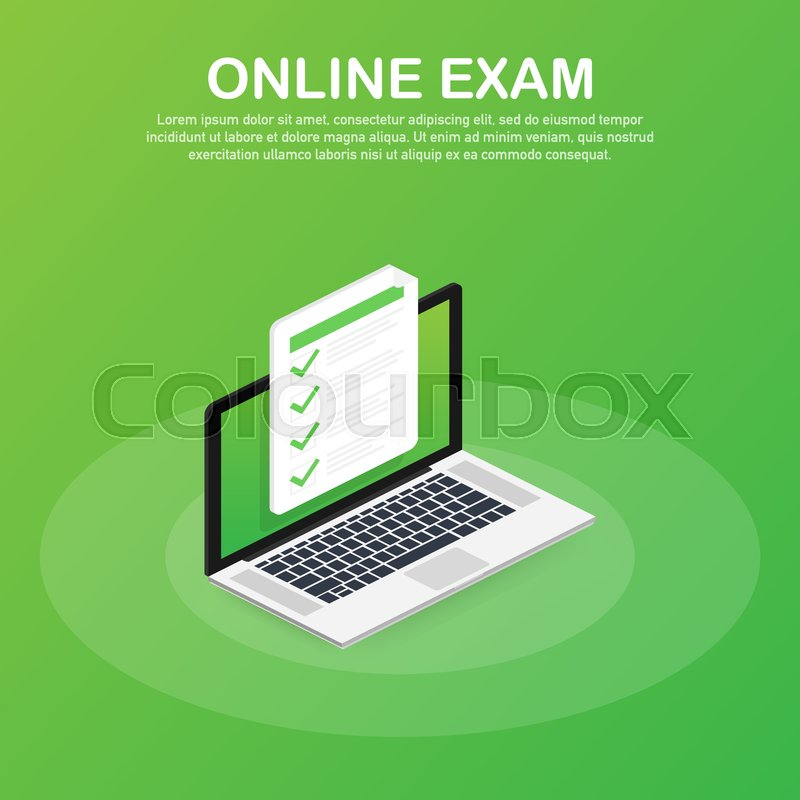 Online Exam Checklist And Pencil Stock Vector Colourbox