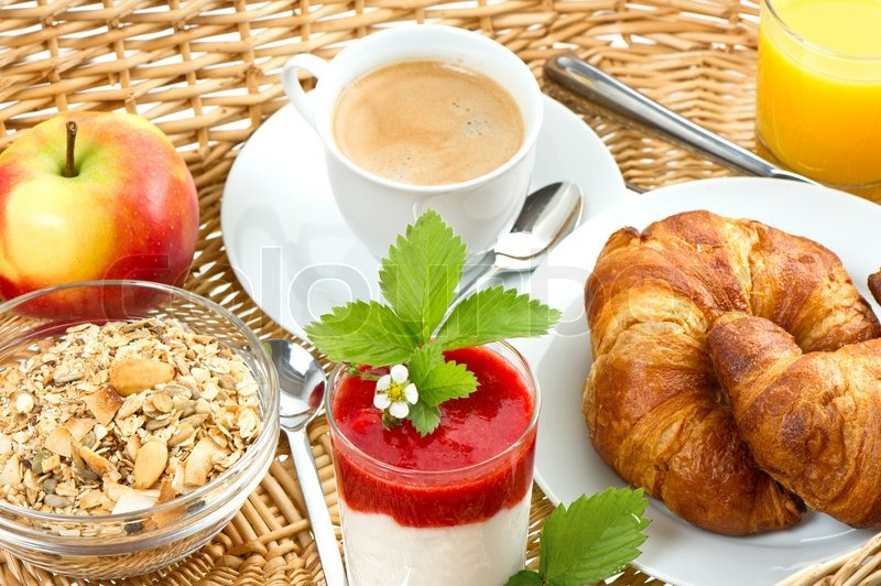 Breakfast With Coffee Croissants Stock Photo
