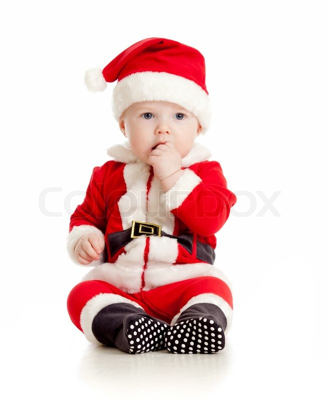 Cute Baby In Santa Claus Clothes Stock Photo Colourbox