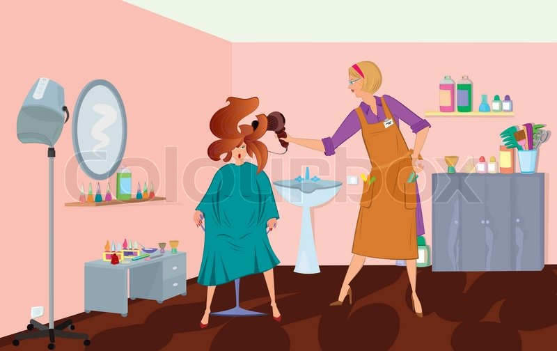 Beauty Salon Professional Is Blow Drying Client S Hair