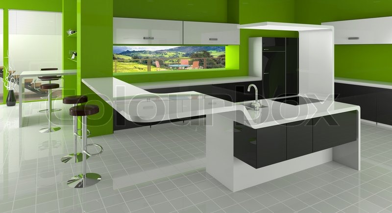 Modern Kitchen In Green Black And White Colors Stock