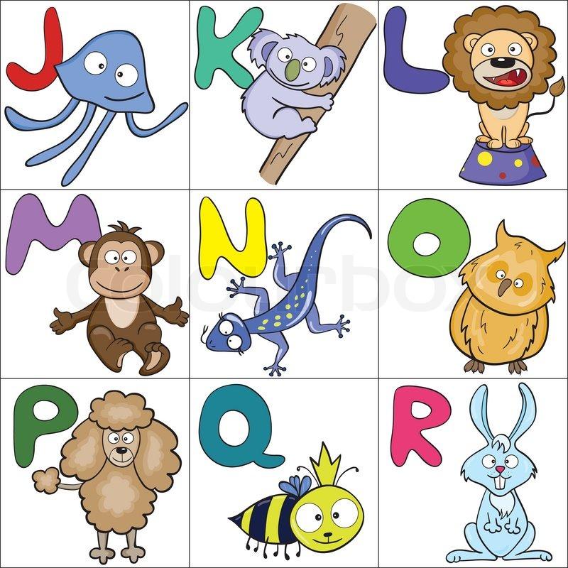 alphabet mit cartoon tiere 2  vektorgrafik  colourbox